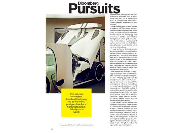 Bloomberg Pursuit - Koenigsegg Super Car - Sweden